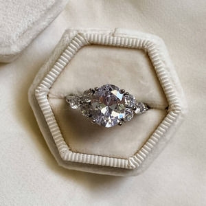 Sterling Silver 3ct Oval Diamond Ring